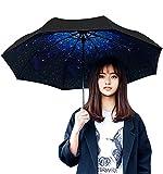 Bidason 折り畳み傘 UVカット 晴雨兼用 折りたたみ傘 8本骨 耐風撥水 軽量 日傘 花柄傘 (星空)
