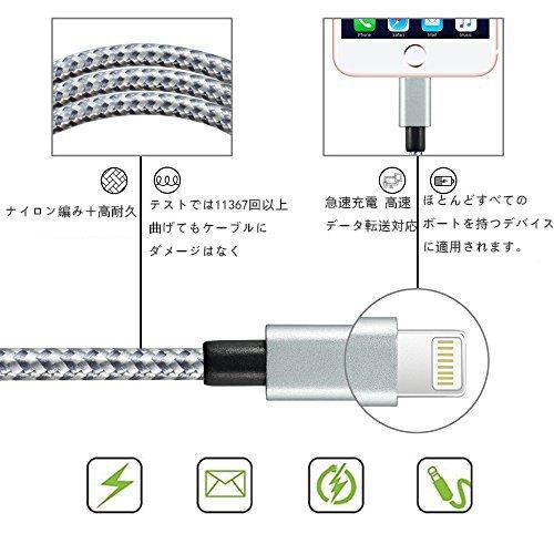 ライトニング ケーブル ,Welmor Lightning ケーブル ナイロン編み iPhone 7/7 Plus /6s/6s Plus/6 Plus/6/iPhone 5/5C/5S/SE/iPad/Air/Mini/Mini2/iPad 4/5/ 7に対応「濃いグレー&赤,1M,2本セット」