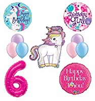 Unicorn 6th Birthday Girl Party Supplies and Balloon Decorations [並行輸入品]
