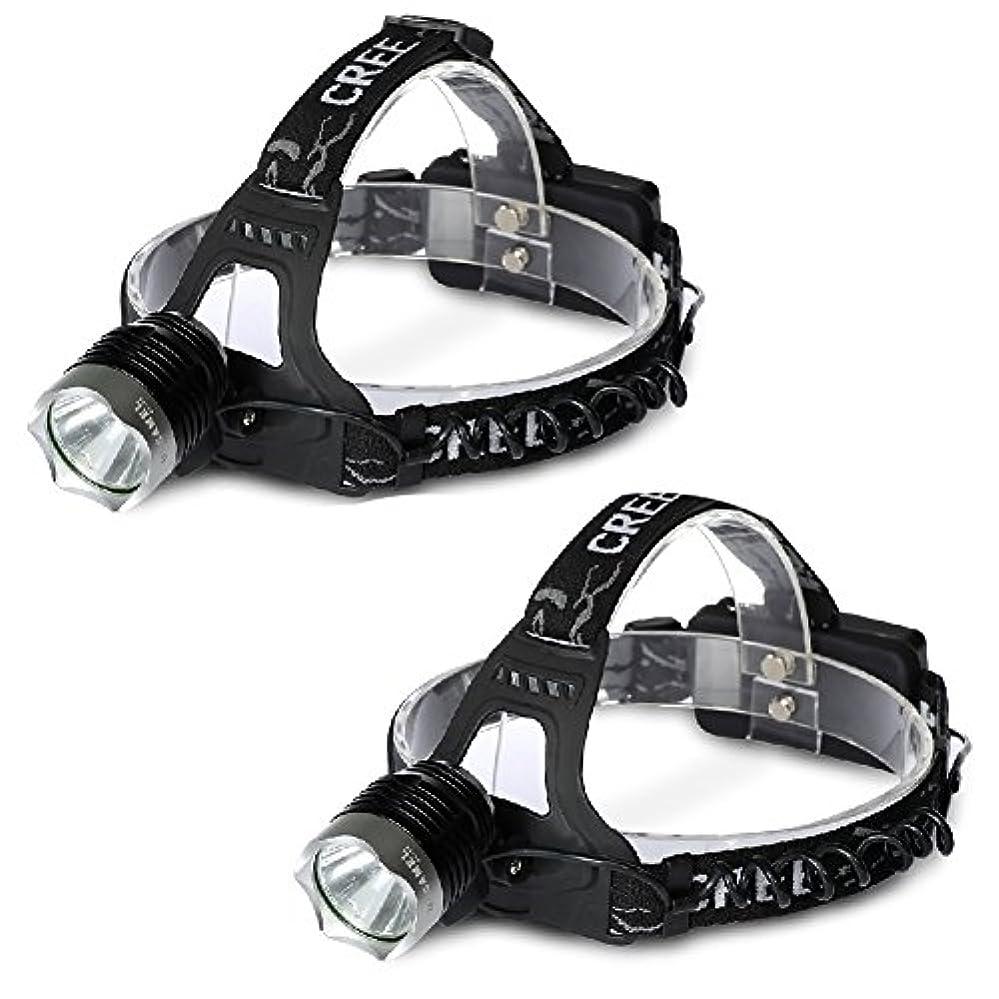 スポーツをする銀標準GOODGOODS 2個セット LEDヘッドライト 充電式 1800LM CREE XM-L T6 ヘッドランプ【一年保証】 防水
