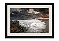 海、ビーチ、雲、雨、夕暮れ 風景の写真 黒色の木製フレーム 額縁 壁掛け ホーム装飾画 装飾的な絵画 壁の装飾 ポスター(40x60cm)
