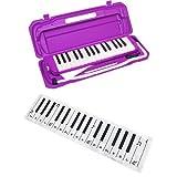 KC 鍵盤ハーモニカ (メロディーピアノ) パープル P3001-32K/PP + 鍵盤デザイン「どれみふぁそらクロス」付きセット