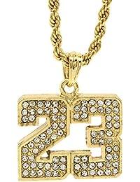 Jewel Town メンズ14金ゴールドメッキド派手23番バスケットボールペンダント 24インチロープチェーン ヒップホップネックレス D472