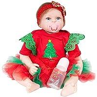 Domybest リボーンベビードール 着せ替え人形 クリスマス風 エルク 抱き人形 赤ちゃん 人形 バービー サンタ ままごと 子供玩具 ぬいぐるみ ビニール リアル 可愛い ベビーケア シリコン 誕生日 プレゼント 写真道具 55cm