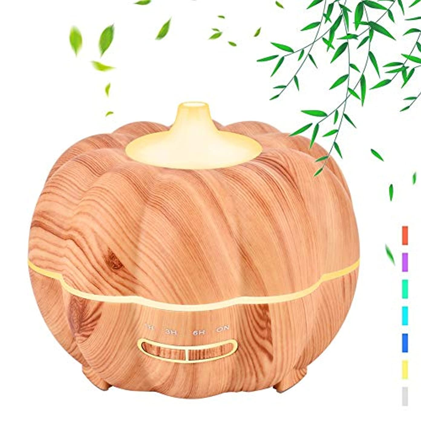 まっすぐにするキャッチ保険300ミリリットル木材穀物エッセンシャルオイルディフューザー、加湿器超音波アロマセラピーアロマセラピーディフューザー加湿器、静かな操作、7色フレグランスランプ、ホームオフィス用ヨガスパ,Lightwoodgrain