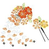 (キョウエツ) KYOETSU成人式 卒業式 花 髪飾り 2点セット つまみ細工 和装 かんざし 7w8200 (オレンジ)