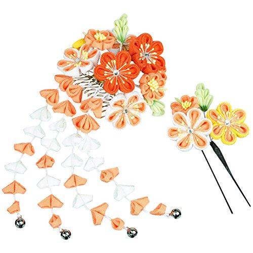 (キョウエツ)KYOETSU?成人式卒業式花髪飾り2点セットつまみ細工和装かんざし7w8200(オレンジ)