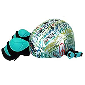 ラングスジャパン (RANGS) ジュニアスポーツヘルメット ピース ブルー (プロテクター付)
