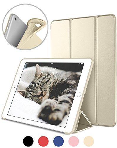 DTTO iPad Air2 ケース 超薄型 超軽量 TPU ソフト スマートカバー 三つ折り スタンド スマートキーボード対応 キズ防止 指紋防止 オート スリープ スリープ解除 ゴールド