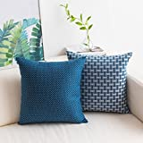 "Home Brilliant Pack of 2 Linen Throw Pillow Covers Woven Textured Decorative Square Accent Cushion Covers Set for Sofa 18""X18"" Navy Blue"