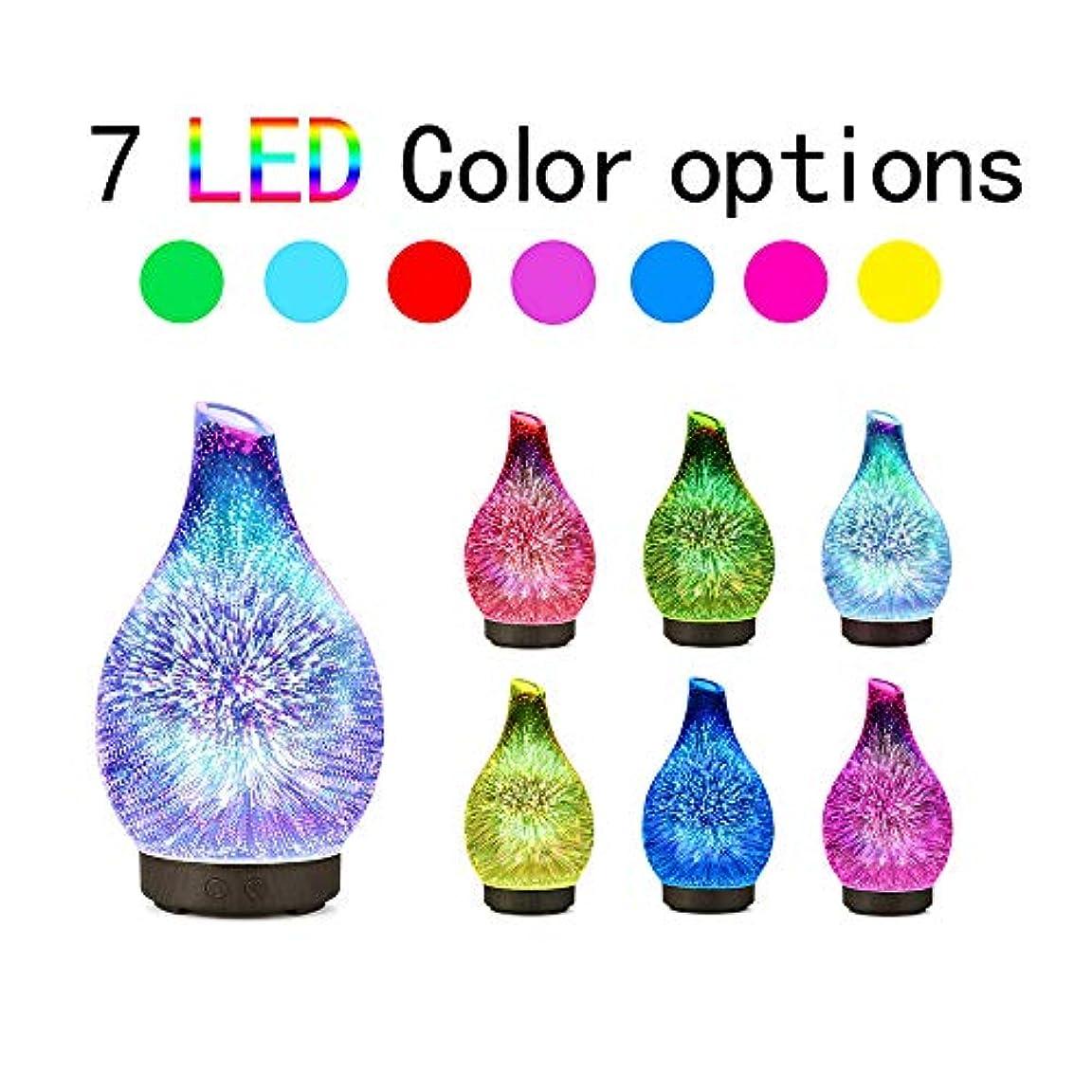 ノイズアルコーブアートDecdeal 100ml 3Dガラス超音波 アロマディフューザー アロマ加湿器 超音波式 7色LEDライト変換 間接照明