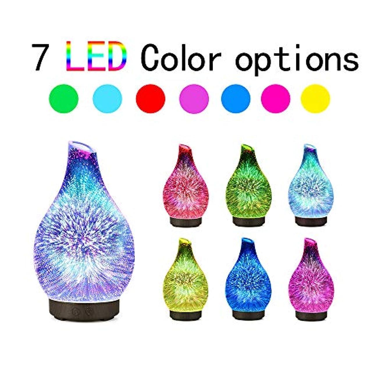 確認してくださいビーズピービッシュDecdeal 100ml 3Dガラス超音波 アロマディフューザー アロマ加湿器 超音波式 7色LEDライト変換 間接照明