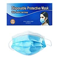 Disposable Face Masks 50 Pcs Blue Professional 3-Layer Anti Dust Breathable Earloop Mouth Mask, Comfortable Sanitary Surgical Mask Breathable for Dust, Pollen Allergens