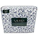 Lauren キングシーツセット 100%コットン 4点セット フレンチネイビー 花柄 トワール ホワイト