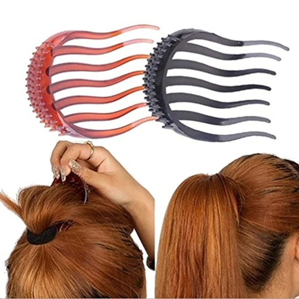 会員質素な役割2Pcs Ponytail Bump it UP Hair Styling Insert Comb Fluffy Hair Comb (1Black+1Coffee) [並行輸入品]