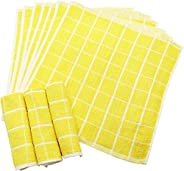 Grid Pattern Hand Towels, For Commercial Use, 10 Pieces, 100% Cotton, 11.0 x 11.0 inches (28 x 28 cm).
