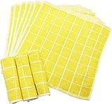 おしぼり 格子柄タオル 業務用 10枚入り 綿100% イエロー 28×28cm