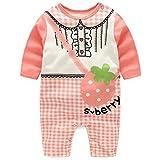 エルフ ベビー(Fairy Baby)新生児服 春秋用カバーオールロンパース 長袖 可愛いプリント 6M イチゴ柄