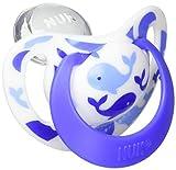 ヌーク NUK おしゃぶり きれいな歯並びのために ジーニアス 2.0 (キャップ付)M【6~18ヶ月】/シリコーン/ホエール【ドイツ製】【ママの乳首を再現】 OCNK4020111