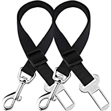 2 Adjustable Car Seat Belts for Dogs & Cats - Triple The Survival Rate in Accidents - Prevent Stress from Travel in Kennel - Allow Breathing Fresh air Without Pets Jumping Out - Support All Cars