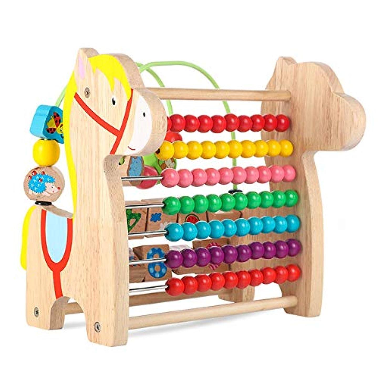 ウサギ羊ポスト印象派子供 知育玩具 木製活動キューブのおもちゃ、子供のための発見家畜活動センターアーリーラーニングと開発のための3年 早期開発 男の子 女の子 誕生日のプレゼント (Color : Horse, Size : Free size)