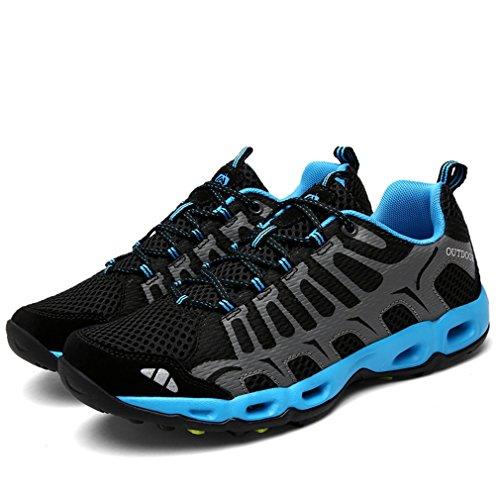 [QIFENGDIANZI]トレッキングシューズ メッシュ メンズ 春夏 ウォーキング ジョギング ランニング アウトドア スポーツ キャンプシューズ ハイキングシューズ 黒 25.5cm