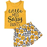 Toddler Kids Baby Girl Sunflower Outfit Sleeveless Letter Vest Top + Floral Shorts Summer Clothing