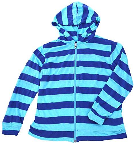 【Babystity】紫外線防止ベビーカラーボーダーラッシュガードラッシュパーカー(ブルー,120-130cm)