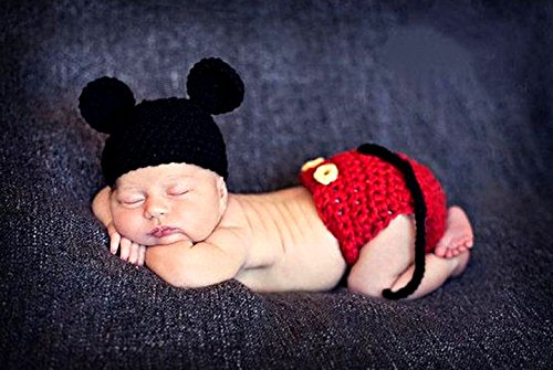 ベビー コスチューム 寝相アート ハロウィン ミッキー 風 ベビー服 記念撮影 赤ちゃん 毛糸 ハンドメイドコスチューム Disney ディズニー 写真撮影用 衣装 誕生記念 赤ちゃん服  仮装 かわいい ベビーニット帽 コスプレ 着ぐるみ 靴  出産祝い