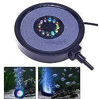 EJG 水槽 アクアリウム 空気泡石エアレーター 円形ライト LED 照明 防水 明るい 鮮やかに装飾 池の噴水