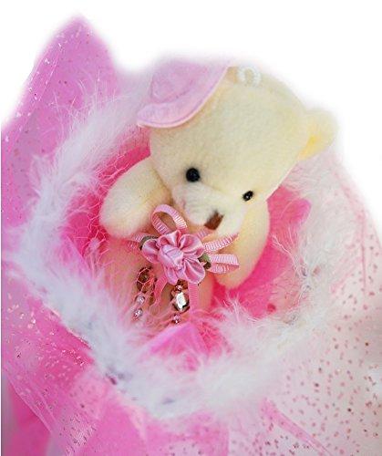ベアブーケ 可愛い 帽子 くま束 / ギフト ・ プレゼント (ピンク)