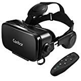 Canbor VR ゴーグル VRヘッドセット メガネ 3D ゲーム 映画 Bluetoothコントローラ付き 受話可能4.7-6.2インチのiPhone Samsungなどのスマホ対応 黒