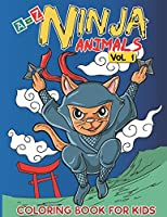 A-Z Ninja Animals Coloring Book for Kids: Alphabet coloring pages w/ One sided Fun & Relaxing Different Cute  Animals to Color as Gift for Kids, Toddlers, Preschooler, Boys and Girls in Alphabetical Order (Volume 1)