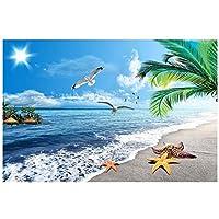 山笑の美 壁紙床pvcシースケープビーチ3d床絵画防水壁壁画床絵画壁紙-280X200cm