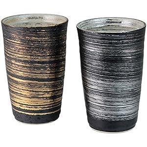 有田焼 陶悦窯 金銀刷毛 ペア陶酒杯(約350cc)