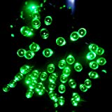 LED ソーラー イルミネーション 太陽発電 300球 点灯8パターン 防水 防雨 屋外 クリスマス イルミ 自動ON/OFF (グリーン)