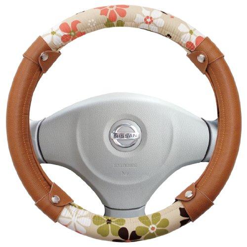 カーキュート かわいい ハンドルカバー ピンク ミルクティ & レザー 色 ブラウン 軽自動車 (普通車37.5cmまで)3本スポーク用 HC723ABR