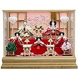 雛人形 5人ガラスケース 【麗華】 三五芥子 5人飾り [間口72cm] 【fn-44】 スワロフスキー付き 広島県府中産木製枠 ひな祭り