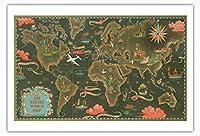 世界地図 - ビンテージな航空会社のポスター によって作成された ルシアン・ブーシェ c.1948 - アートポスター - 76cm x 112cm
