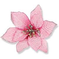 20本15センチメートルクリスマスツリー装飾人工花ゴールデンリム、BZCTAHゴールドポインセチア人工花クリスマスツリーオーナメント、ピンク [並行輸入品]