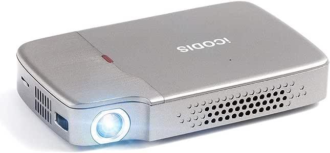 iCODIS RD-818 ミニ プロジェクター 小型 DLP 2000 ルーメン 1080PフルHD対応 854*480解像度 台形補正 パソコン/スマホ/タブレット/ゲーム機/DVDプレイヤーなど接続可能 USB/HDMI/TFカード/イヤホンサポート 充電式バッテリー内蔵 日本語取説