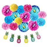 Tissue Paper Flowers DIY Party Backdrop Summer Pineapple Banner Luau Tropical Party Nursery Wall Decoration 17 Pieces, All in One Pack SUNBEAUTY