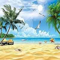 Ljjlm カスタム3D壁画壁紙用ウォールホリデービーチ海景Plam木写真不織布壁カバー用リビングルームテレビソファ背景-200X140CM