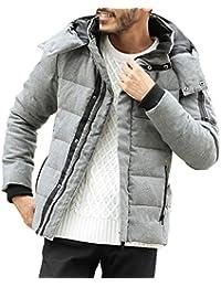 JIGGYS SHOP ダウンジャケット メンズ 軽量 カジュアル アウター 防寒 厚手 フード アウトドア ボリュームネック