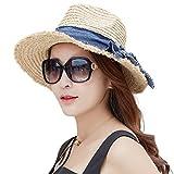 (シッギ)Siggi ラフィア100% メッシュ つば広 フリーサイズ パナマ ストローカウボーイハット 麦わら女優帽子 レディース 春夏 旅行 UVカット ベージュ
