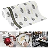 Leorealko Kitchen Paper Towels Roll,Kitchen Dish Towel cleaningcloth Reusable Oil Absorbent Disposable Cloth-Like Paper Hand Napkins Reusable Paper