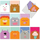 """10 Note Cards with Envelopes, Assorted 'Fur You' Blank Greeting Cards, Cute All-Occasion Cards for Baby, Birthday, Congratulations - Stationery Notecards (4"""" x 5 ¼"""") #M6584OCB"""