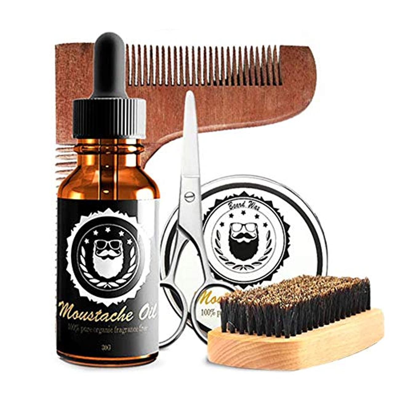 深く年次分散ひげの心配セット、人のためのオイル、ワックス、ブラシ、はさみが付いている良質のひげのキット