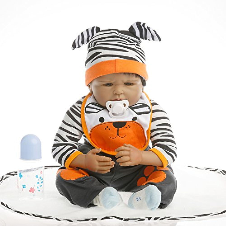 NPK collection Rebornベビー人形リアルな赤ちゃん人形ビニールシリコン赤ちゃん22インチ55 cm人形新生児赤ちゃん人形ブラックストライプ人形