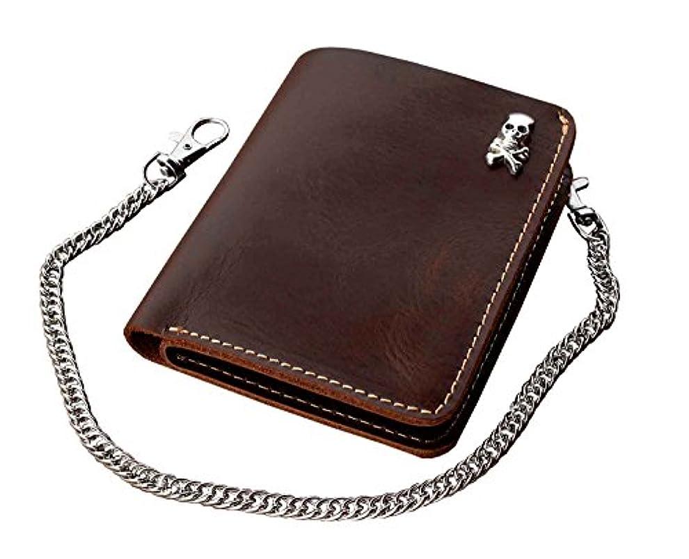 公園むしろアフリカシンプルスリムカードホルダーMoney Leather Wallet w / Chain for Mens